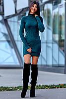 Теплое Платье из Ангоры с Удлиненным Рукавом на Палец Изумрудное S-XL, фото 1