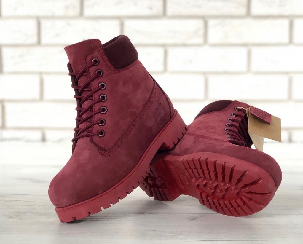 9cd9b30b ... зимние Timberland 6 inch Bordo Boots (с мехом) | ботинки женские;  бордовые; зимние Timberland ...