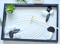 Японский сад камней с суккулентом, 34х23,5 см