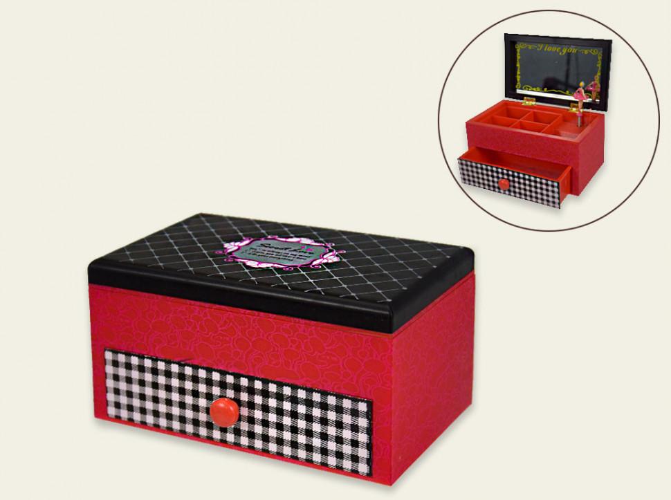Музична червона скринька з висувним шухлядкою і балериною