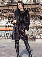 Женская графитовая шубаиз искусственной норки длиной 100 см gr7190197, фото 1