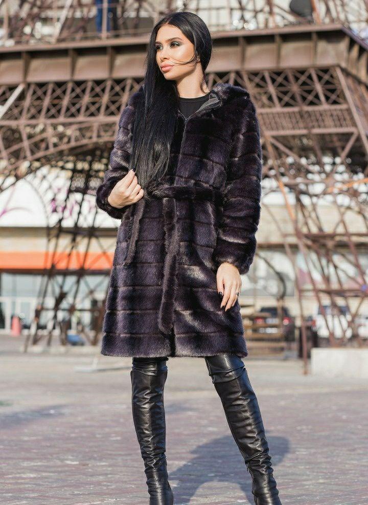 Женская графитовая шубаиз искусственной норки длиной 100 см gr7190197