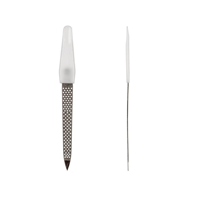 Пилка для ногтей с белой ручкой, перфарированная, маленькая pro