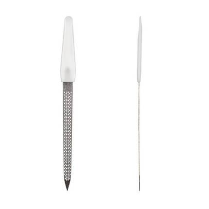 Пилка для ногтей с белой ручкой, перфорированная, большая pro, фото 2