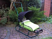 Санки-коляска детские с конвертом (тёплые санки санки с ручкой и спинкой зимние санки)