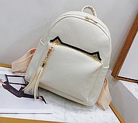 Рюкзак женский кожзам с кисточкой Fendi Бежевый