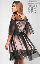 Женское расклешенное двойное платье с сеткой (Ирма lp), фото 3