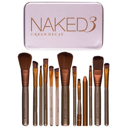 Набор кистей косметических Naked3 urban decay, 12 предметов, фото 2