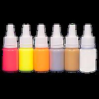 Набор флюоресцентных красок для ногтей JVR FLUO + silver & gold