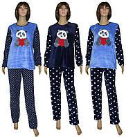 Пижама женская зимняя с вышивкой 18209 Мишка Dark Blue флис / махра, р.р.42-52, фото 1