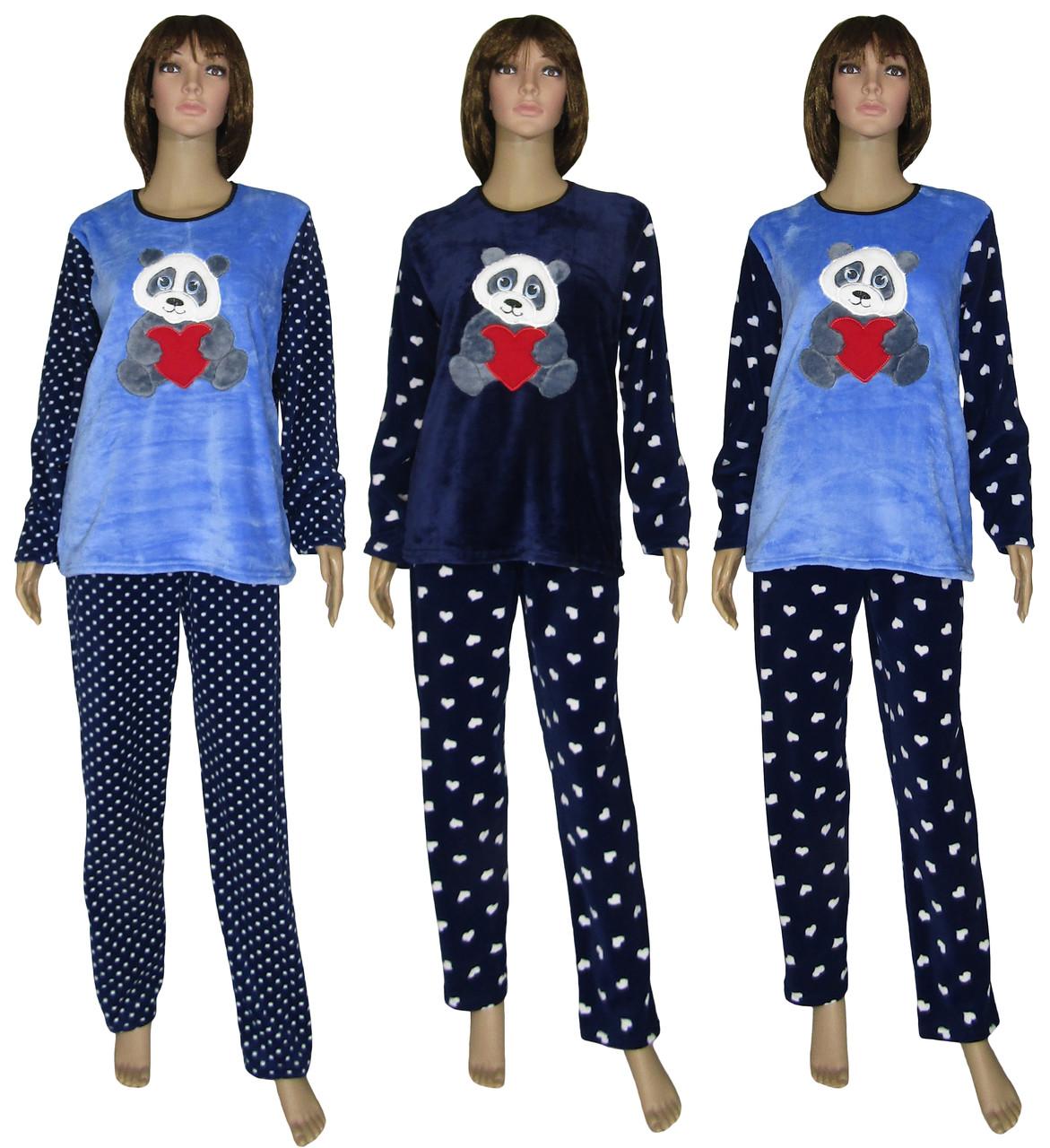 f3294d976e35 Пижама женская зимняя с вышивкой 18209 Мишка Dark Blue флис / махра, р.р