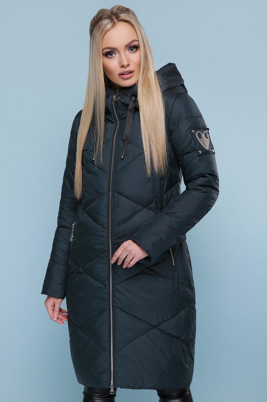 Зимняя женская куртка пуховик темно-зеленая