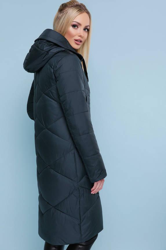 Зимняя женская куртка пуховик темно-зеленая, фото 2