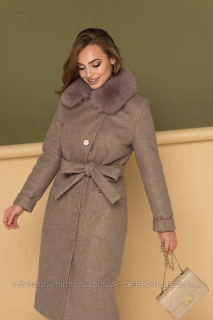 """Деловое классическое зимнее женское пальто  """"Вива""""капучино  с 42 по 50 размер (девис)"""