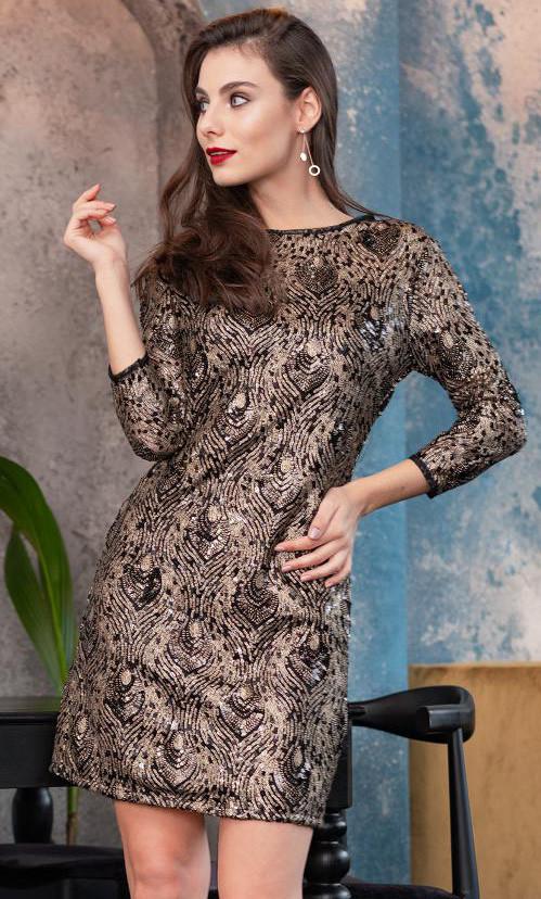 1d5ca86d2b3 Вечернее мини платье с пайетками черного цвета. Модель 20049 ...