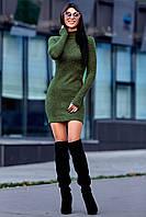 Теплое Платье из Ангоры с Удлиненным Рукавом на Палец Хаки S-XL, фото 1
