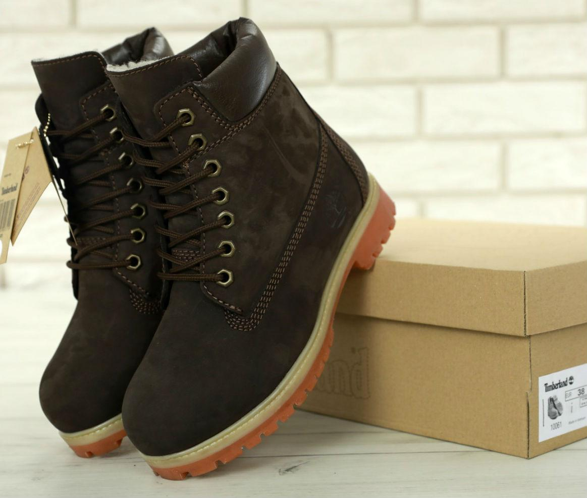 Timberland 6 inch Dark Brown Boots (с мехом)  983d4d28c9e62