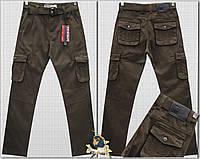 Джинсы мужские ITENO с накладными карманами коричневого цвета 48359ac2de613