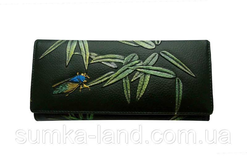 Женский зеленый кошелек из натуральной кожи на магните