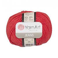 Хлопковая пряжа YarnArt Jeans 26 коралловый (ЯрнАрт Джинс)