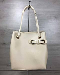 2в1 Молодежная женская сумка Бантик бежевого цвета