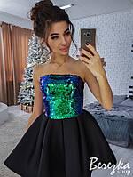 Платье с пышной юбкой и верхом из пайеток 66PL2209, фото 1