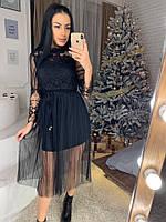 Платье с фатином и набивным кружевом 40PL2231
