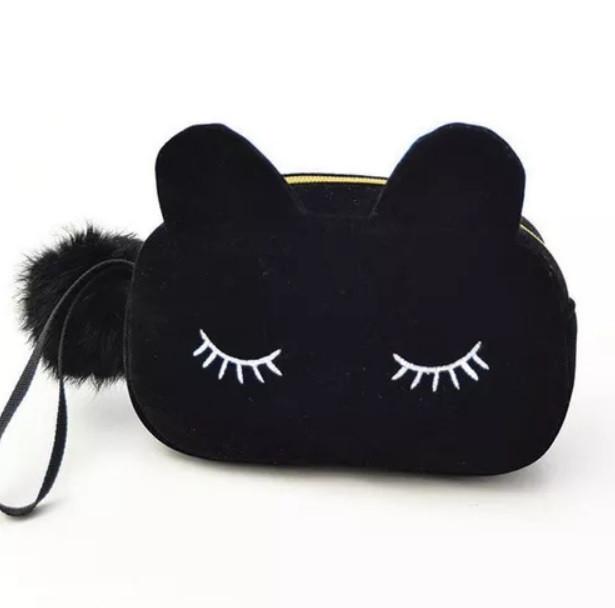 Бархатная косметичка черная Sleepy Eyes