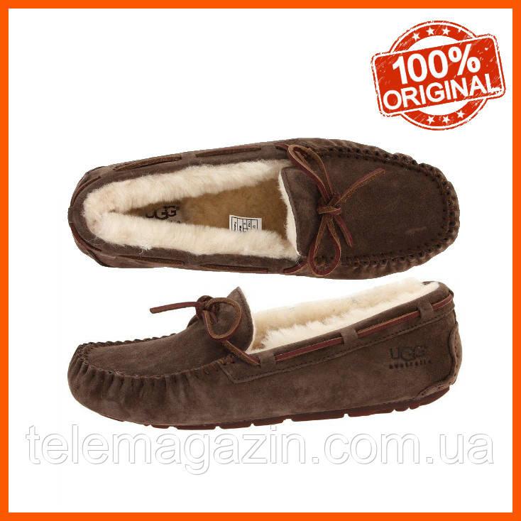 Женские замшевые угги мокасины UGG Dakota Slipper Chocolate