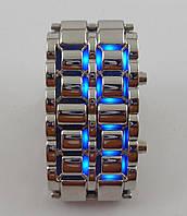 Часы мужские наручные Iron Samurai (Железный самурай) 012629 серебристые с синей подсветкой