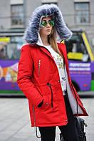 Женская зимняя куртка (парка) на натуральном меху Red, фото 1