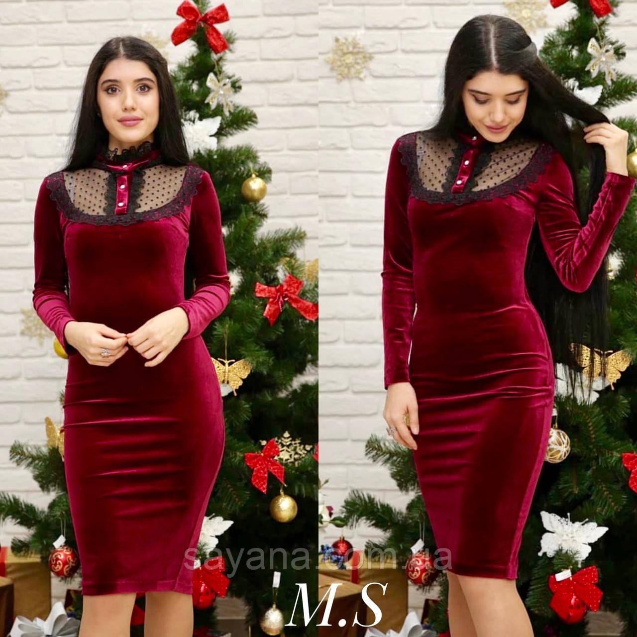8835526de10 Женское шикарное платье из бархата и кружева в расцветках. МК-5-1118 ...