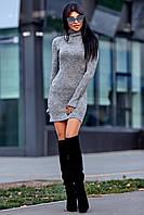 Теплое Платье из Ангоры с Удлиненным Рукавом на Палец Серое S-XL, фото 1