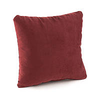 Подушка декоративная квадратная, бордо флок_склад, фото 1