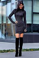 Теплое Платье из Ангоры с Удлиненным Рукавом на Палец Темно-Серое S-XL, фото 1