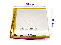 Аккумулятор 3600мАч 309693 мм 3,7в универсальный для планшета 3600mAh 3.7v 3*96*93, фото 1