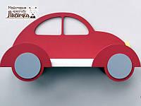 Полка-машина в дитячу для книжок та іграшок червоного кольору 50см