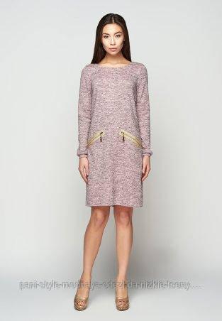 Пряме плаття з рожевого меланжу з золотими блискавками , тепле плаття ніжно-рожевого кольору блискавка на спинці