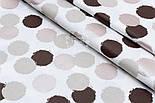 """Поплин шириной 240 см с глиттерным рисунком """"Бежево-коричневые круги"""" на белом (№1676), фото 3"""