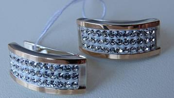 Серебряные серьги с золотыми вставками и белыми фианитами