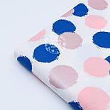 """Поплин шириной 240 см с глиттерным рисунком """"Пудрово-синие круги"""" на белом (№1677), фото 4"""
