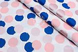 """Поплин шириной 240 см с глиттерным рисунком """"Пудрово-синие круги"""" на белом (№1677), фото 3"""