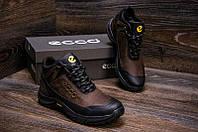Зимние мужские ботинки  из натуральной кожи на меху в стиле Ecco Active Drive Brown 40 41 42 43 44 45