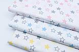 """Поплин шириной 240 см """"Одинаковые звёзды 25 мм"""" серо-голубые на белом (№1679), фото 5"""