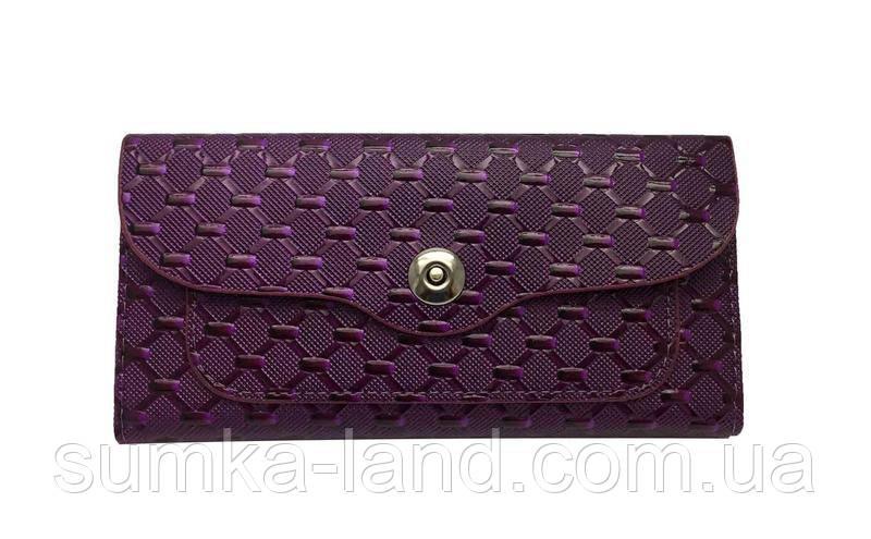 Женский кошелек из искусственной кожи на магнитной кнопке (фиолетовый)