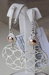 Серебряные серьги - подвески с золотыми пластинками