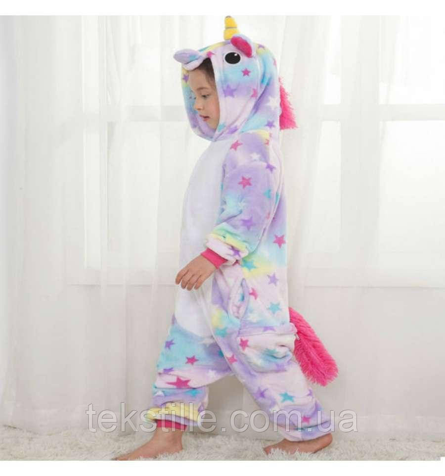 Детская Пижама Кигуруми Единорог Звездный 110,120,130,140