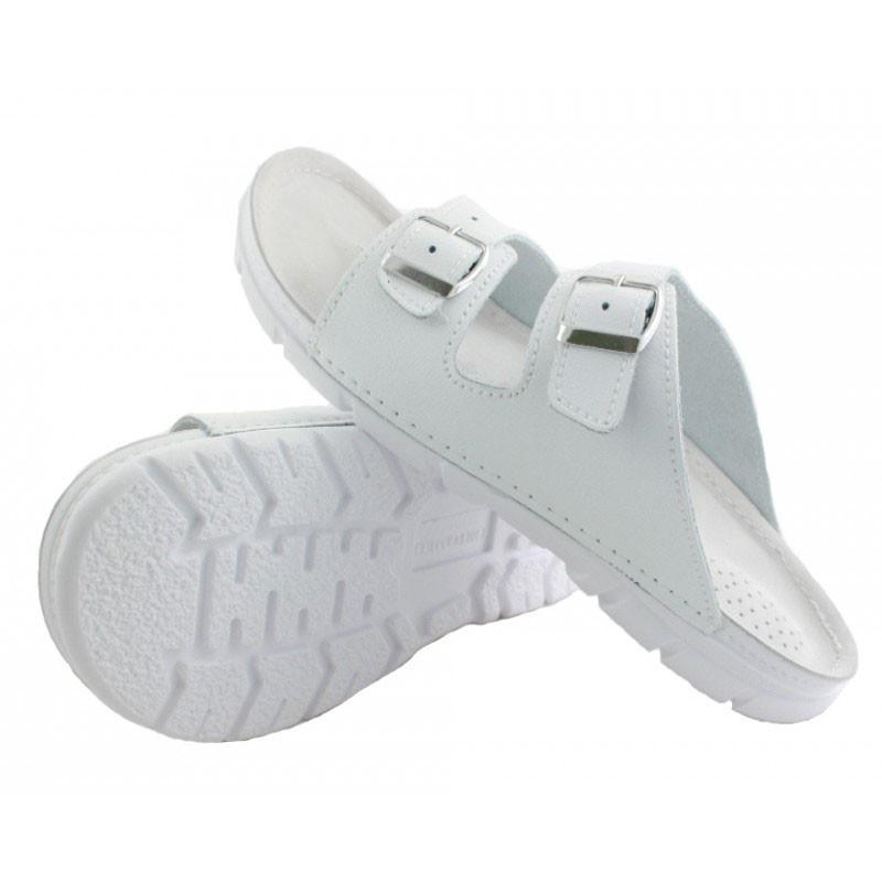 OrtoMed 3027 Белые, Пряжка - Мужские ортопедические  тапочки для проблемных ног