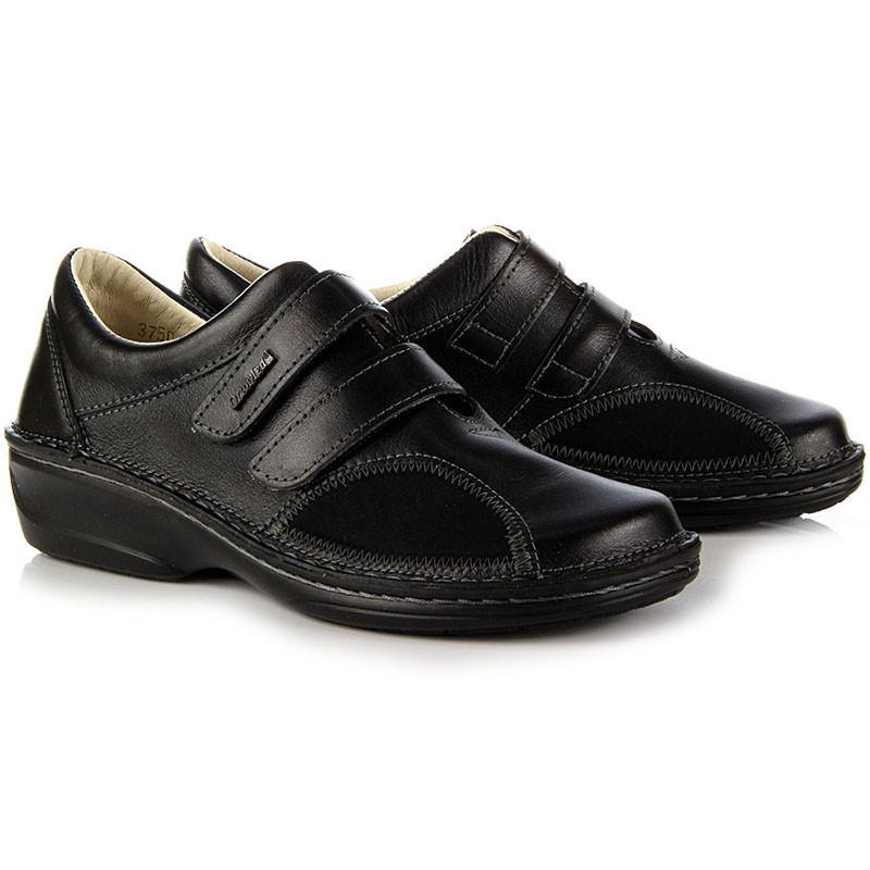 Жіночі ортопедичні черевики для проблемних ніг OrtoMed 3750 Чорні, Липучка