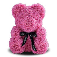 Мишка из роз My Dream 25 см. розовый